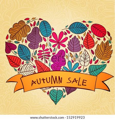 Vector autumn sale text banner design template - stock vector