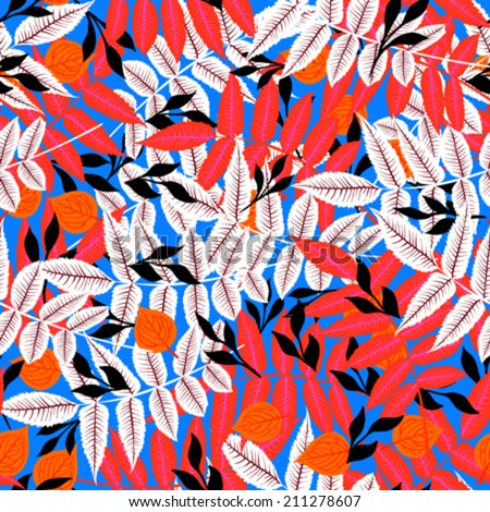 Vector autumn seamless background with pattern of various leaves and branches in bright color in pink, red, blue, black and white. Floral print for summer fall or spring fashion - stock vector