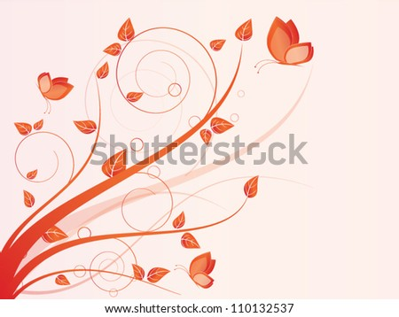 Vector autumn spring background with floral elements and butterfly - stock vector