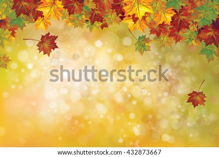 Vector autumnal leaves on bokeh background. - stock vector
