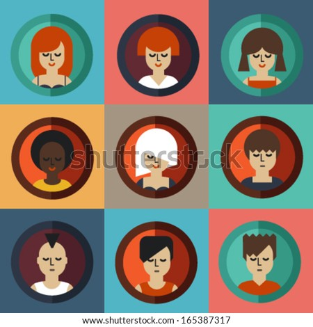 Vector avatar icons set. People collection - stock vector