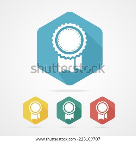 Vector Award Icon flat style with long shadows. - stock vector