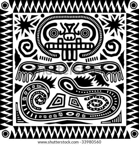 Vector aztec tribal pattern in black and white  - stock vectorBlack And White Aztec Pattern Background
