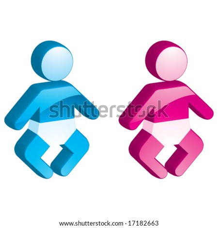 Vector Baby Boy & Girl - 3D Glossy Icon - stock vector