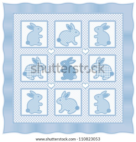 vector - Baby Bunny Rabbits Quilt.  Vintage nursery design pattern in pastel blue and white check gingham, polka dots, satin frame border.  EPS8 compatible. - stock vector