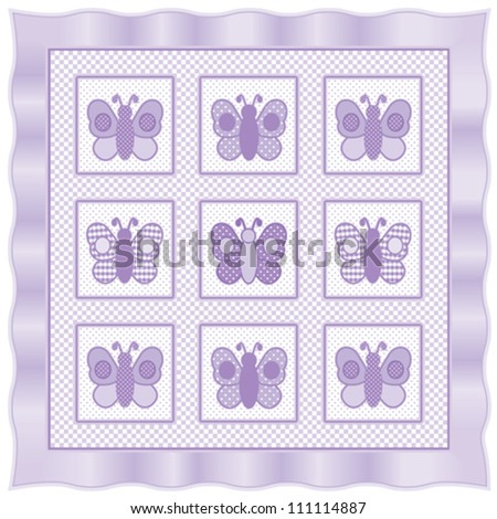 vector - Baby Butterflies Quilt.  Vintage nursery design pattern in pastel lavender and white check gingham, polka dots, satin ribbon frame border.  EPS8 compatible. - stock vector