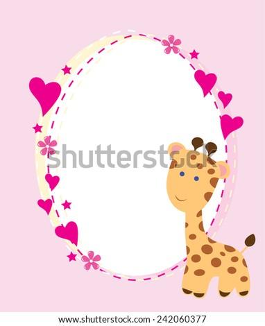 vector baby shower card with a giraffe - stock vector