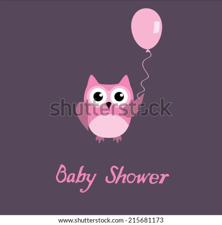 vector baby shower card with pink owl holding a balloon - stock vector