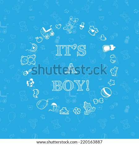 Vector baby shower design over blue background with seamless pattern. It's a boy - stock vector