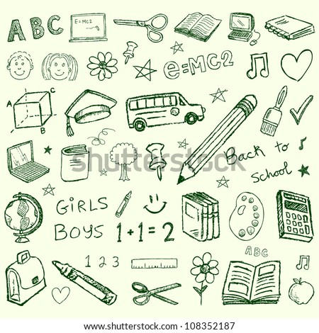 Vector back to school hand drawn doodles - stock vector