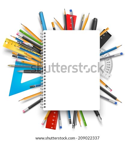 Vector back to school theme background: notebook, pens and pencils. - stock vector