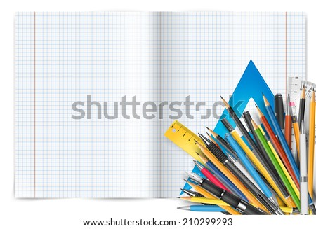 Vector back to school theme. Exercise book with math cheker, pens and pencils. - stock vector