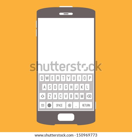 Vector backdrop or background of smartphone design with touchscreen keypad. - stock vector