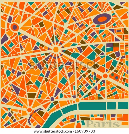 Vector Background Abstract Paris city map Trendy Pattern colors and style - stock vector