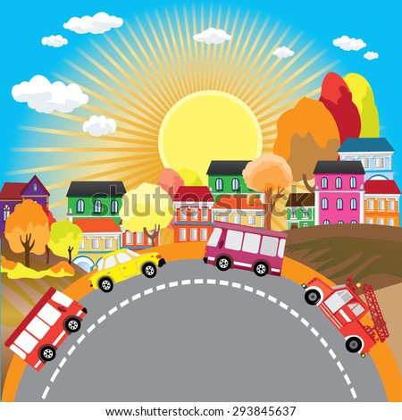 Vector background autumnal city with cars on the roads - stock vector