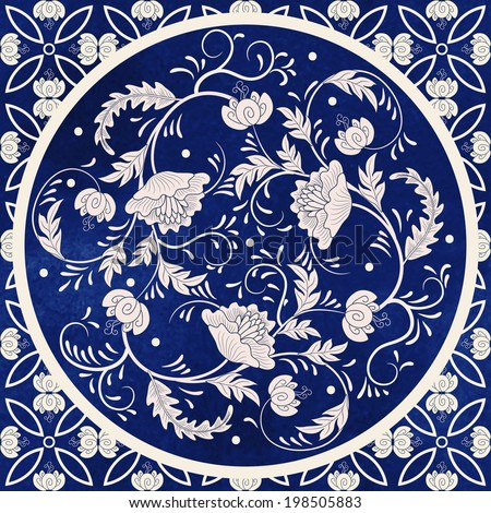 Vector background. Beautiful floral round pattern in chinese style. Simple delicate decor.  Imitation of chinese porcelain painting. Blue watercolor background. Hand drawing.  - stock vector