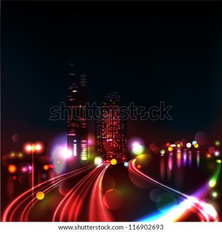 Vector background. Blurred Defocused Lights of Heavy Traffic on a Wet Rainy - stock vector