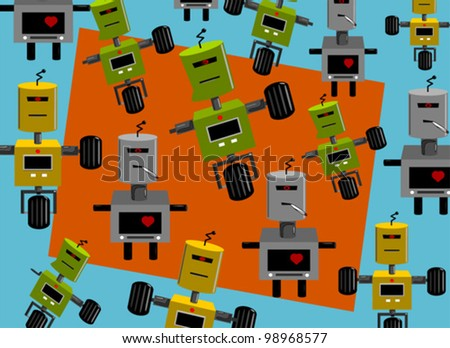 vector background cartoon robots - stock vector