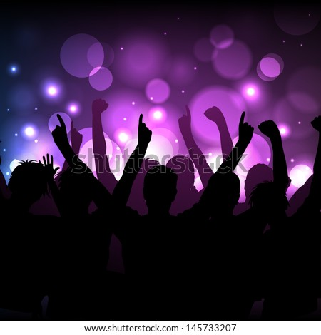 Vector background - cheering crowd at a concert or in a club - stock vector