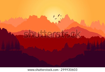 Vector  background. Colorful sunset of mountains - stock vector