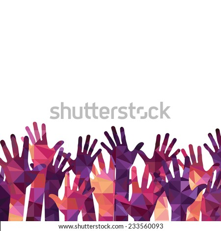 Vector background. colorful up hands - stock vector