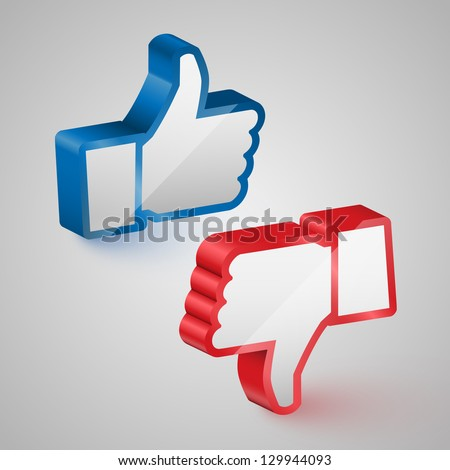 Vector background 3d like, and dislike hands - stock vector
