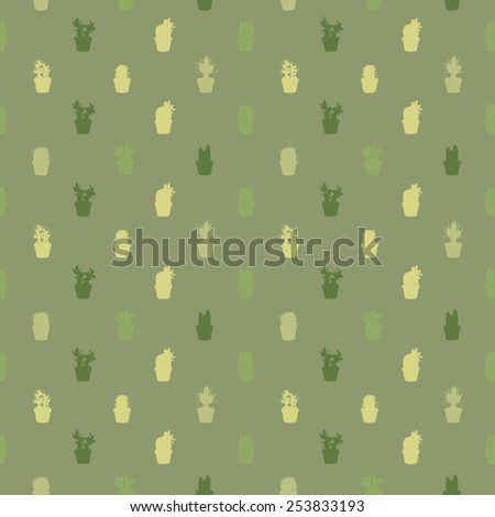 Vector background decorated with cacti silhouettes - stock vector