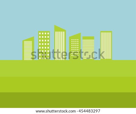 Vector background flat environmentally friendly city of the future. An illustration for defenders of the nature and ecological an organzation, for packing and as an icon for infographic.Green city - stock vector