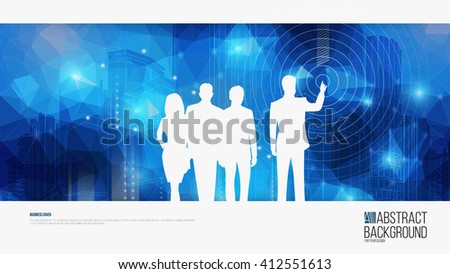 Vector background for Leaflet Brochure Flyer template, annual report book cover layout design. Silhouette of businessmen on an abstract background of the city. - stock vector