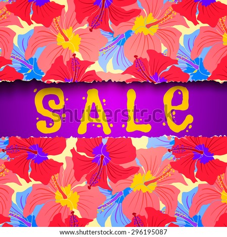 Vector background for summer sale with flowers pattern - stock vector