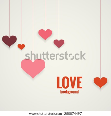Vector background for Valentine's Day with hearts - stock vector