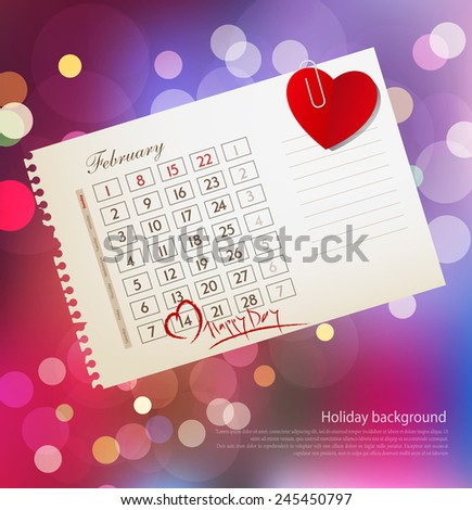 vector background for Valentine's day, with the calendar sheet and attached heart - stock vector