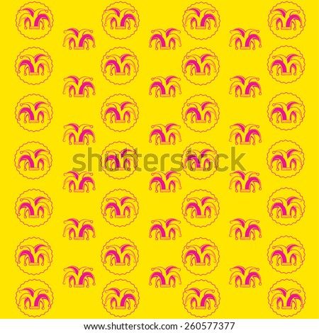 vector background from silhouette clowns hat on color - stock vector