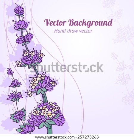 Vector background. Hand draw flowers. - stock vector