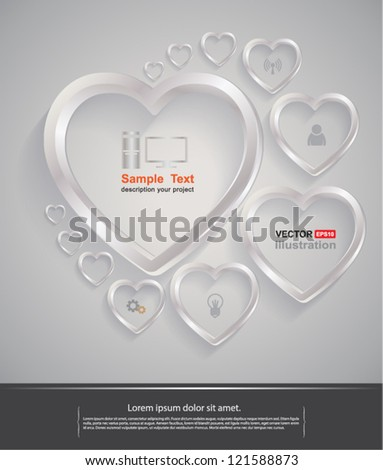 Vector background heart silver / business , love , valentine, simply ,clean and clear ,zen - stock vector