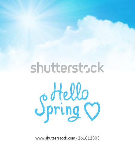 Vector background,hello spring, sun over clouds - stock vector