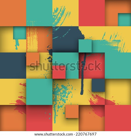 Vector background. Illustration of abstract texture with colorful squares. Pattern design for banner, poster, flyer, cover, brochure. Hand drawn watercolor paint splash. - stock vector