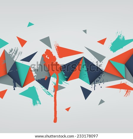 Vector background. Illustration of abstract texture with triangles and paint splashes. Pattern design for banner, poster, flyer, card, postcard, cover, brochure. Hand drawn watercolor paint splash. - stock vector