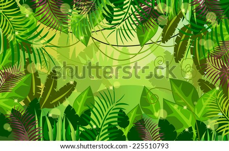 vector background jungle - stock vector