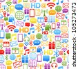 vector background made from colorful network icons - stock vector
