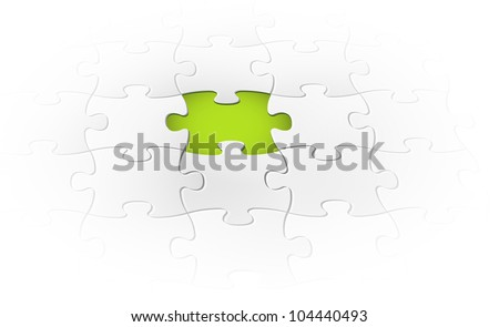 Vector background made from white puzzle pieces with one missing - stock vector