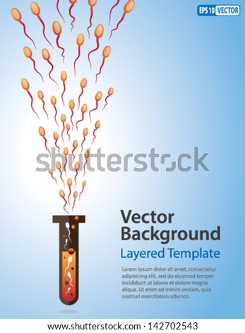 Vector Background - Male Sperms coming out of a Test Tube. Creative Concept for showing Male, fertility, Father, Evolution, Mutation, and many other ideas. - stock vector