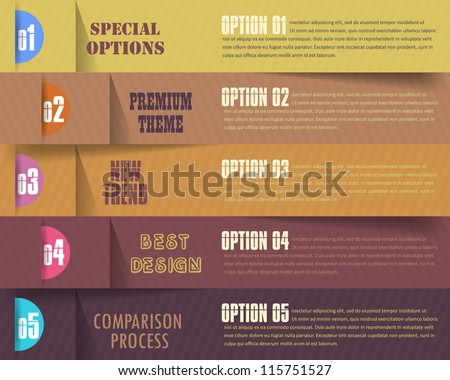 Vector Background Number Options Banner & Card - stock vector