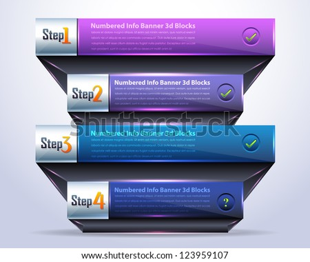 Vector Background Number Options Banner & Card 3d Blocks Style - stock vector