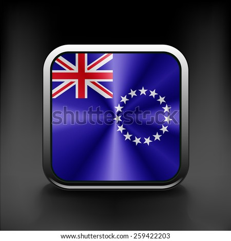 vector background of cook islands flag flag national travel icon country symbol  button - stock vector