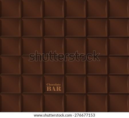 Vector background of realistic dark chocolate bar. - stock vector