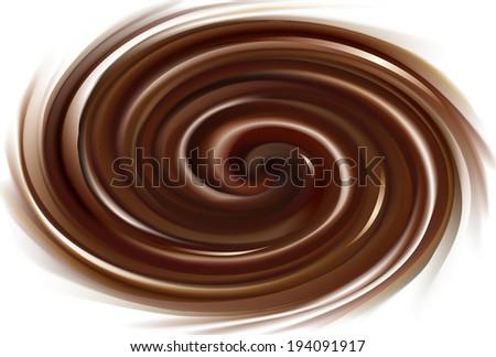 Vector background of swirling dark chocolate texture  - stock vector