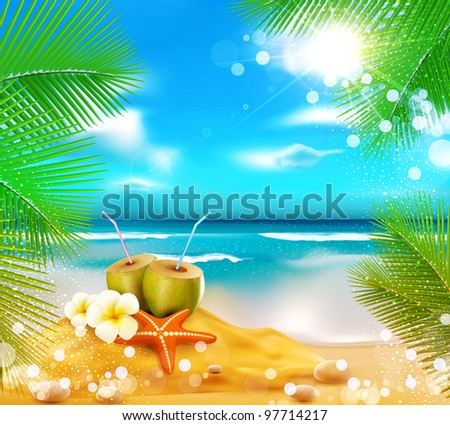 vector background of the sea, palm trees, coconut cocktail, sea star - stock vector