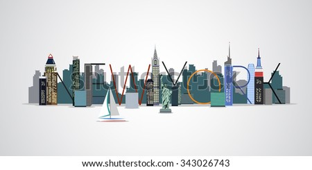 Vector background of the urban landscape of New York. Cityscape. Skyline.Letters. - stock vector