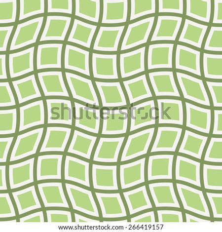 Vector background of wavy lines with curved squares in green colors - stock vector